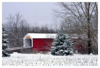 First Snowfall on Moods Covered Bridge - Perkasie, PA