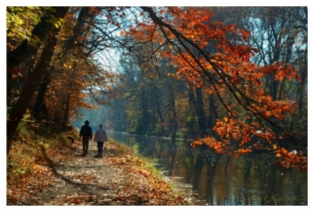 Autumn Morning Stroll - Delaware Canal, PA