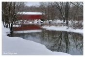 Winter Reflections of Sheard's Mill Covered Bridge - Quakertown, PA