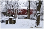 Winter Along Pine Run Creek Covered Bridge - Holiday Card