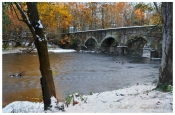 Autumn Snow at Eight-arch Bridge 2, Neshaminy Creek - Warwick, PA