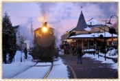 Winter Sunset New Hope Victorian Station - Note / Holiday Card